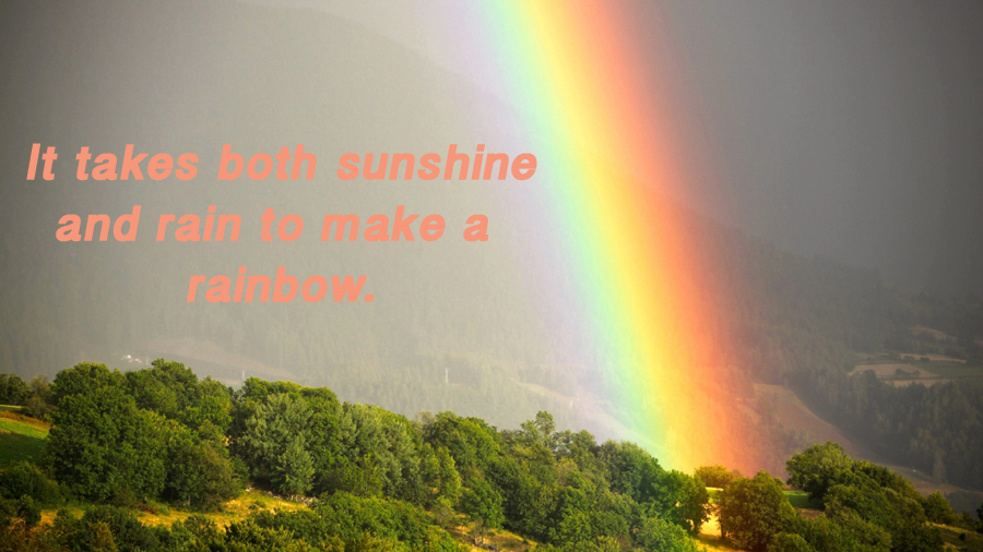 It takes both sunshine and rain to make a rainbow