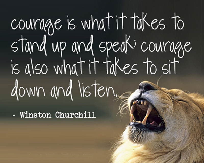 Courage is what it takes to stand up and speak; courage is also what it takes to sit down and listen.